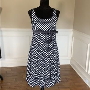 NWT Sandra Darren Pleated Polka Dot Dress